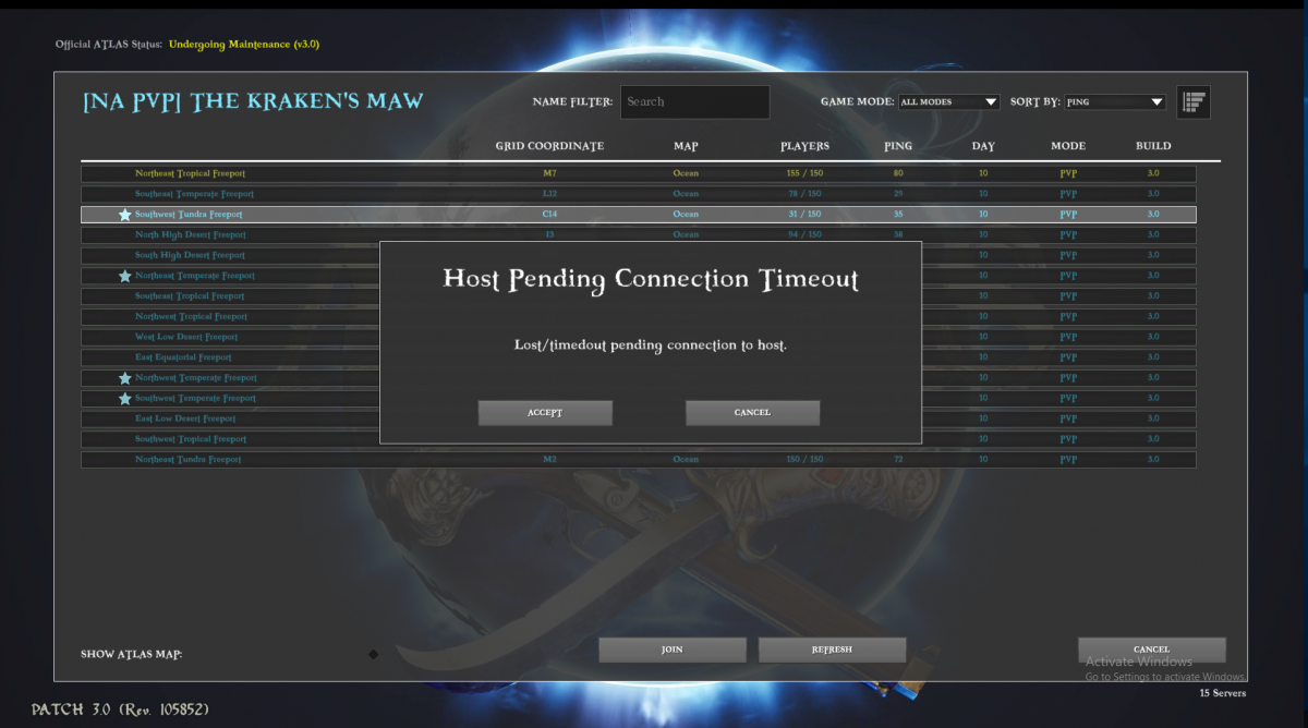 Host Pending Connection Timeout - Bug Reports - Official