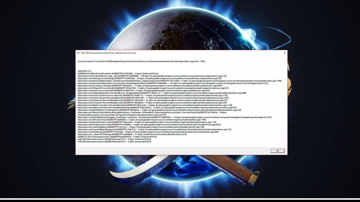 Fatal error! - Bug Reports - Official Atlas Community