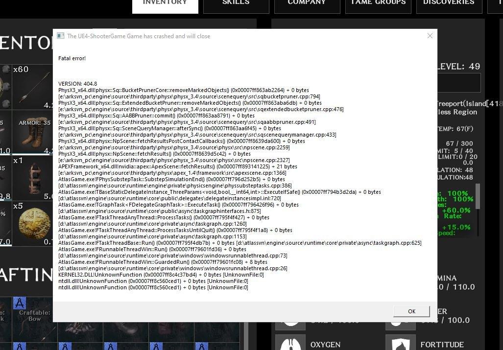 ATLAS Error Screenshot